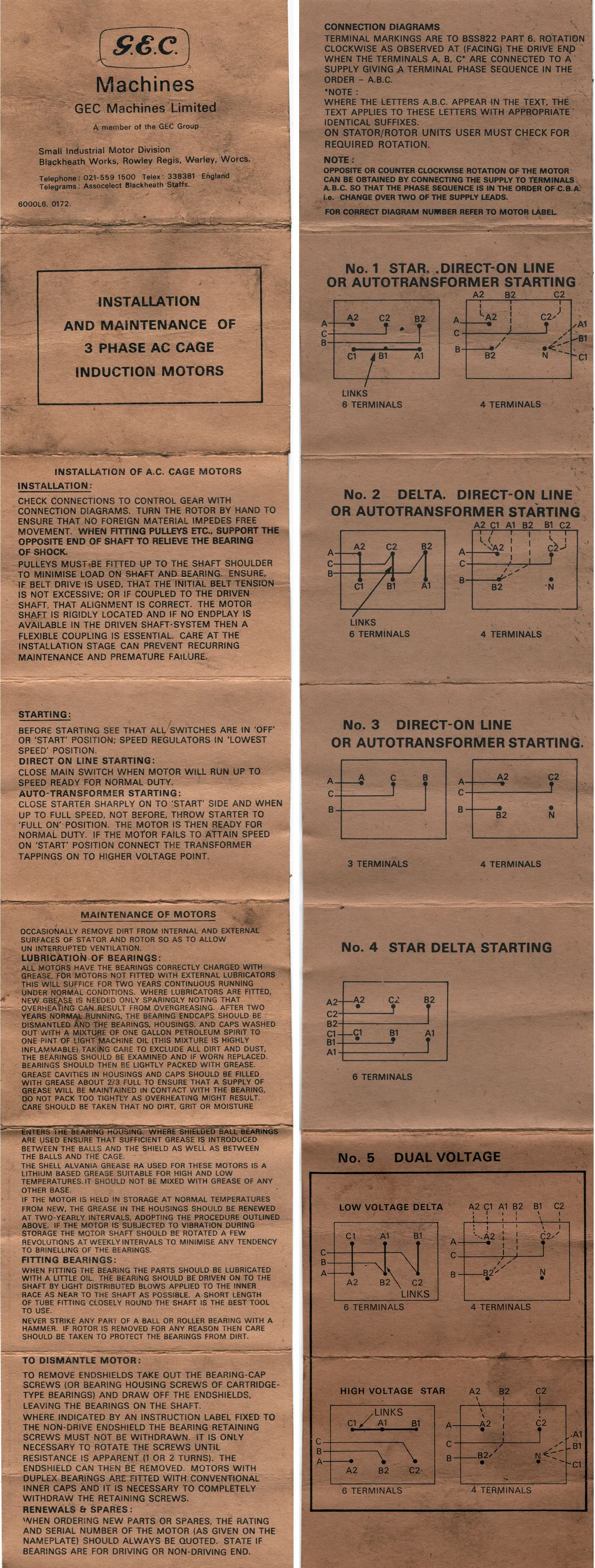 also this card with instructions about the gec three-phase motor