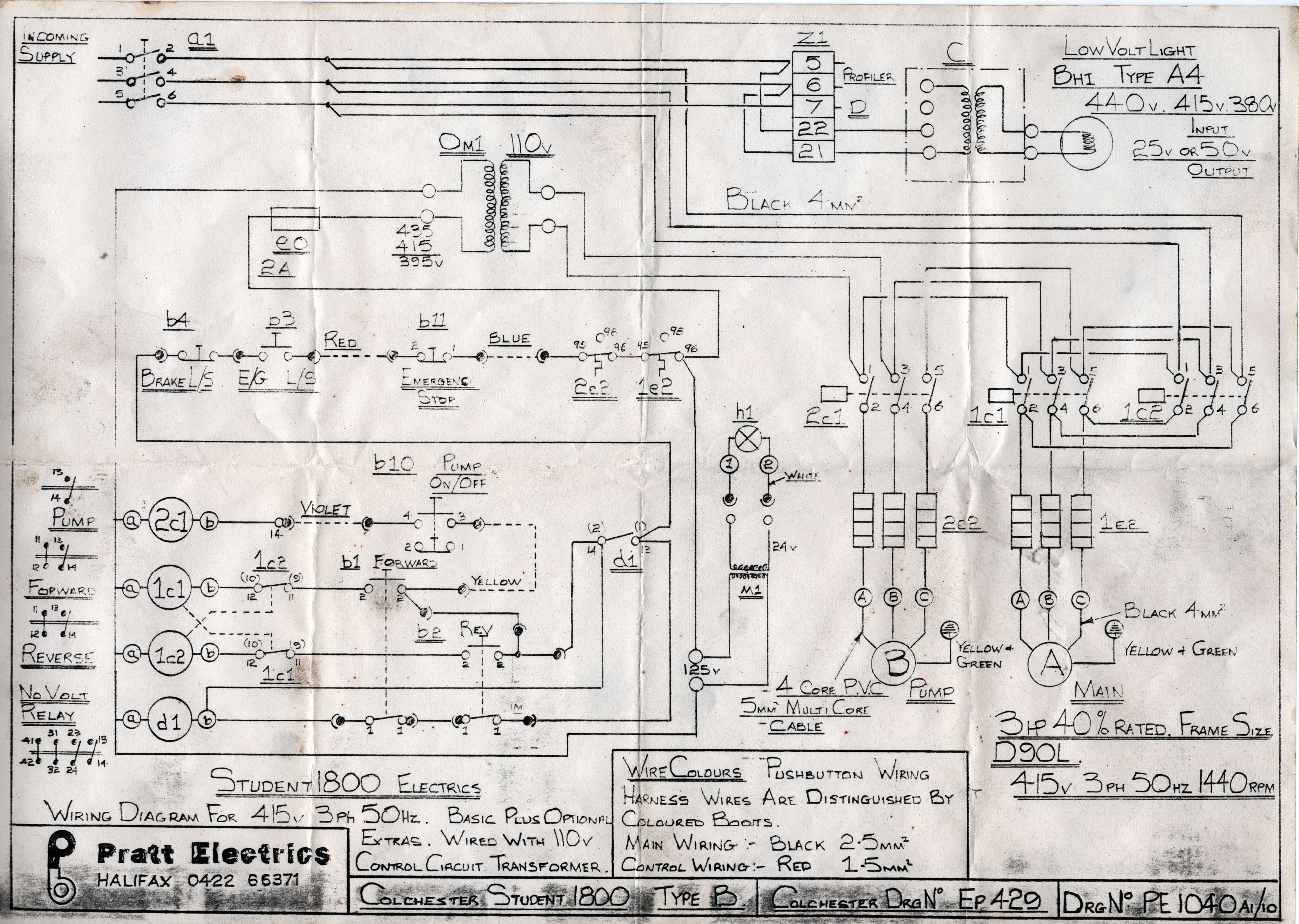 Colchester Student 1800 wiring diagram | G4DBN on